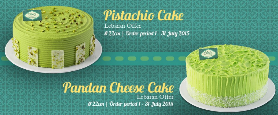 Pistachio and Pandan Cheese Cake